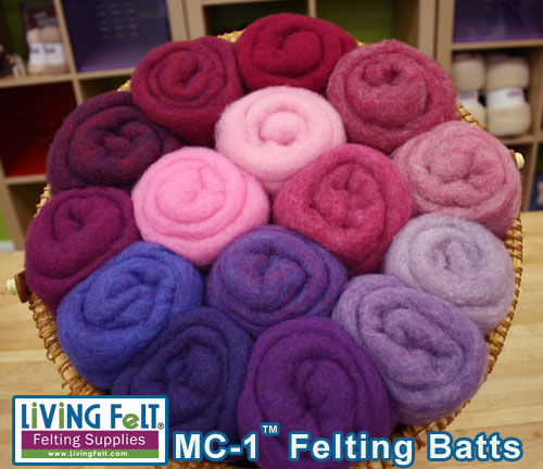 felting and needle felting wool mc-1 batts pink, purple, berry tones