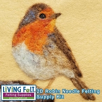 Needle Felting Kit:  2D Robin Painting with Wool