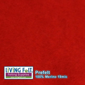 Prefelt 100% Merino Wool  19.5 Micron   Red