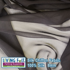 Silk Chiffon Fabric - Black  8mm