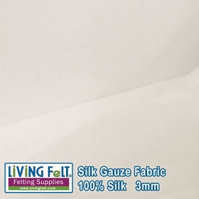 Silk Gauze Fabric - White  3mm