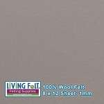 Felt Sheet 8 x 12  - 100% Wool - ASH GRAY