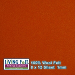 Felt Sheet 8 x 12  - 100% Wool - BRICK RED