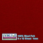 Felt Sheet 8 x 12  - 100% Wool - DEEP RED