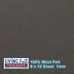 Felt Sheet 8 x 12  - 100% Wool - SLATE GRAY