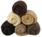 Felting & Needle Felting Wool: Merino Cross Batt  EARTH TONES Studio Pack