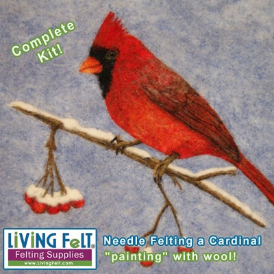 Needle Felting Kit:  2D Cardinal Painting with Wool