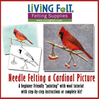Needle Felting Tutorial:  2D Cardinal Painting with Wool - PDF
