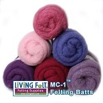 Felting & Needle Felting Wool: Merino Cross Batt  PURPLES/BERRIES Studio Pack