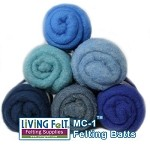 Felting & Needle Felting Wool: Merino Cross Batt  BLUES Studio Pack