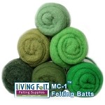 Felting & Needle Felting Wool: MC-1 Merino Cross Batt  GREENS Studio Pack