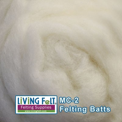 MC-2 Merino Cross Batt  BRIGHT White Wool
