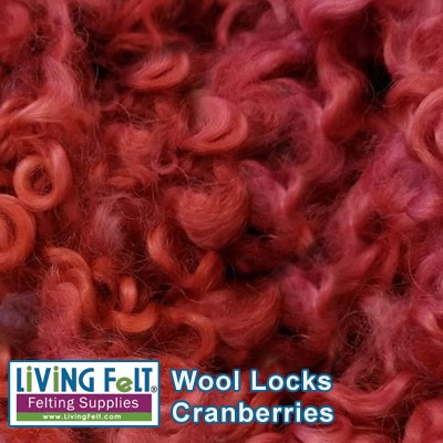 Dyed Curly Locks - Sheep's Wool - Cranberries
