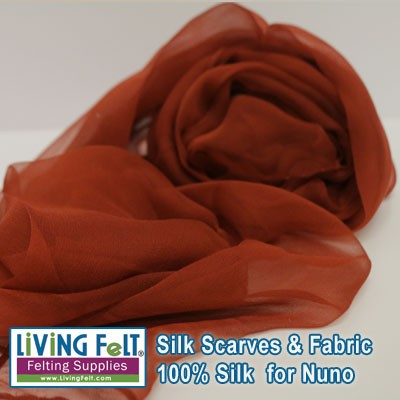 "Silk Gauze Scarf   21"" x 72""   Burnt Orange"