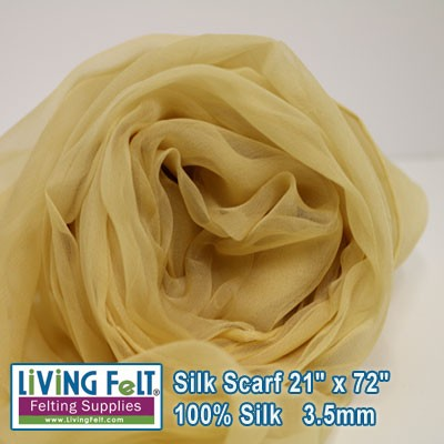 "Silk Gauze Scarf   21"" x 72""   Butter Cream"