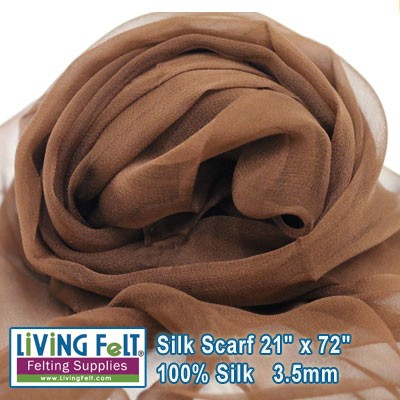 "Silk Gauze Scarf   21"" x 72""  Chocolate"