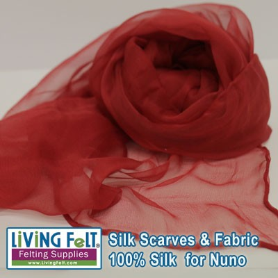 "Silk Gauze Scarf   21"" x 72""   Red"