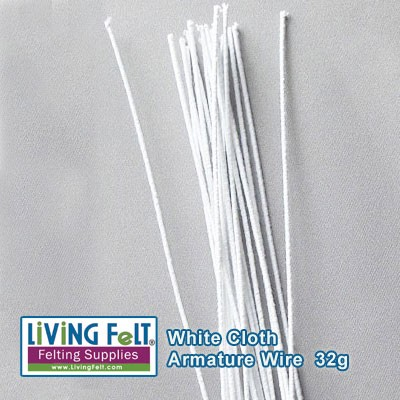 Wire Armature, White Cloth 32 Gauge  12 pieces