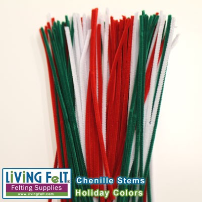 Chenille Stems  Holiday Colors  100 pieces