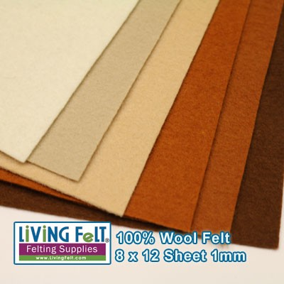 Felt Sheet 8 x 12  - 100% Wool - ECRU