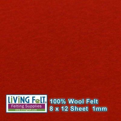 Felt Sheet 8 x 12  - 100% Wool - RED