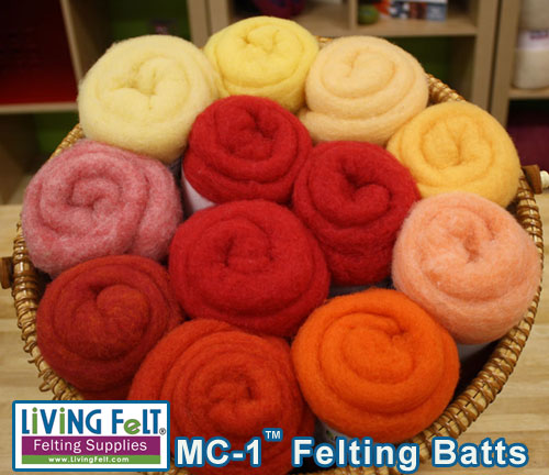 felting and needle felting wool mc-1 batts summer hot tones