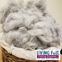 Alpaca Fleece - Gently Carded - Light Gray