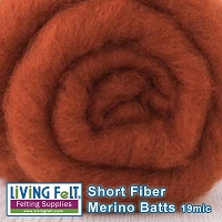 Short Fiber Merino Batt – 19 Micron - Burnt Orange