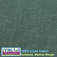 Linen Fabric Softened - Forest  Medium Weight