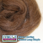 Alpaca Roving - Medium Brown