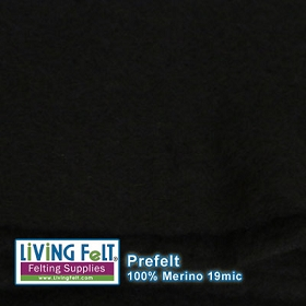 Light Prefelt 100% Merino Wool 19.5 Micron Ebony