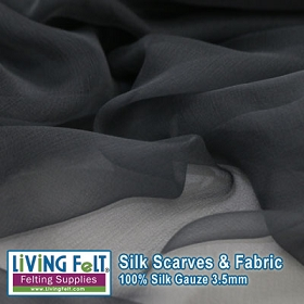 Silk Gauze Fabric - Charcoal 3.5mm 43