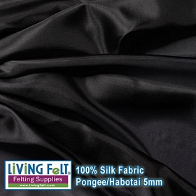 Silk Pongee Habotai Fabric - Black 5mm  35