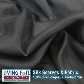 Silk Pongee Habotai Fabric - Charcoal 5mm  35