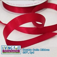 Ribbon-Double Satin - Deep Red 3/8