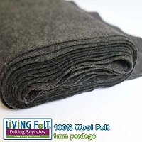 Felt Fabric 1mm - Charcoal - 100% Wool
