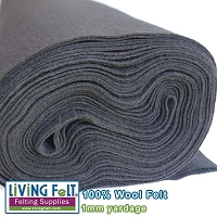 Felt Fabric 1mm - Coal - 100% Wool