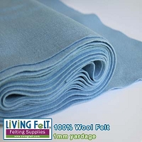 Felt Fabric 1mm - Powder Blue - 100% Wool