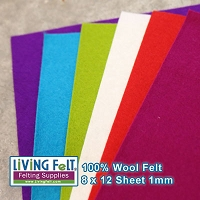 Felt Sheet 8 x 12 - 100% Wool - HOLLY JOLLY