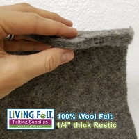 Rustic Felt Fabric 8mm - Yards and Cuts - 100% Wool - Gray