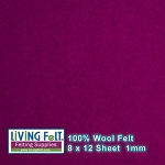 Felt Sheet 8 x 12 - 100% Wool - BERRY