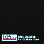 Felt Sheet 8 x 12 - 100% Wool - BLACK