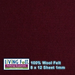 Felt Sheet 8 x 12 - 100% Wool - BORDEAUX