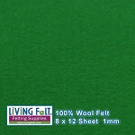 Felt Sheet 8 x 12 - 100% Wool - KELLY