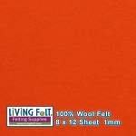 Felt Sheet 8 x 12 - 100% Wool - ORANGE