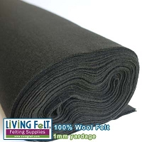 Felt Fabric 1mm - Black- 100% Wool