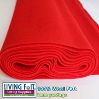 Felt Fabric 1mm - Red - 100% Wool