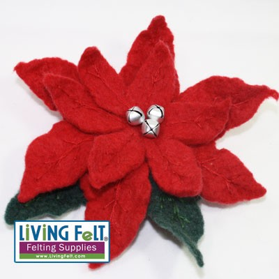 felted poinsettia made with Merino Top Red. Available as a kit!