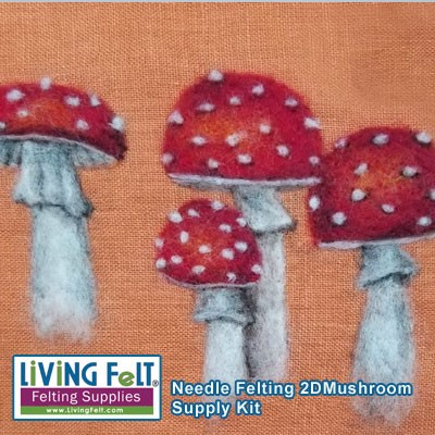 Needle Felting a mushroom on linen kit