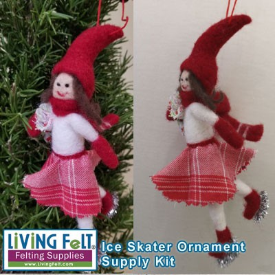 Needle Felting Kit: Ice Skater Ornament